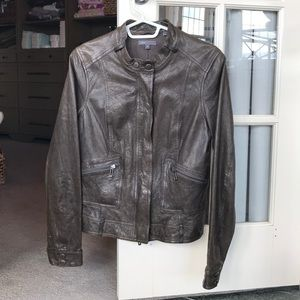 Vince Grey Leather Jacket